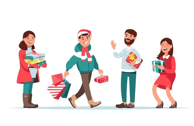 Glückliche männer und frauen, die weihnachtseinkäufe machen und geschenke isoliert geben