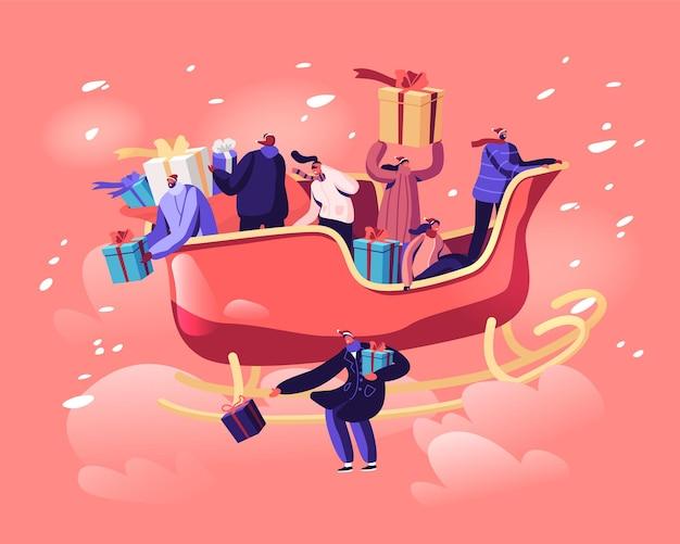 Glückliche männliche und weibliche charaktere, die im weihnachtsmannschlitten sitzen, der durch himmels-wurfgeschenke und -geschenke auf dem boden fliegt. karikatur flache illustration