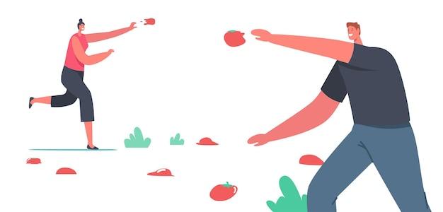 Glückliche männliche und weibliche charaktere werfen gemüse zu eath andere feiern la tomatina, tomatenfest. spanien traditionelle unterhaltung, ernte-feiertags-konzept. cartoon-menschen-vektor-illustration
