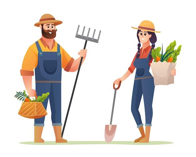 Glückliche männliche und weibliche landwirte mit bio-gemüsekarikatur