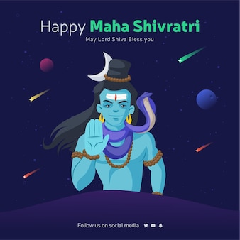 Glückliche maha shivratri banner-design-vorlage mit lord shiva, der segen gibt
