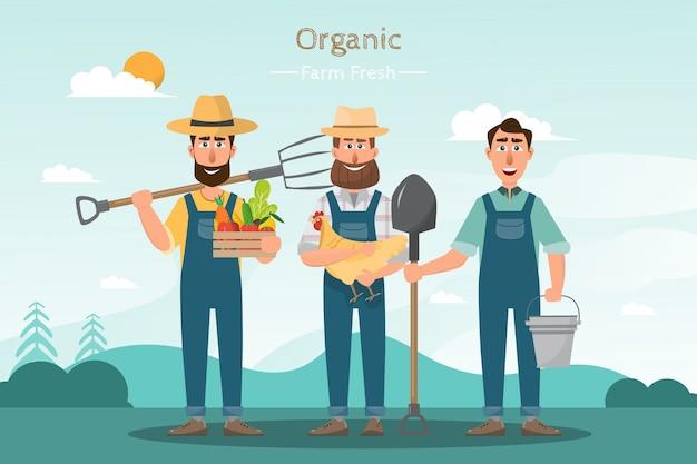 Glückliche mannlandwirtzeichentrickfilm-figur im organischen ländlichen bauernhof