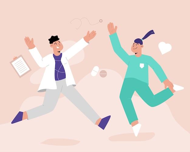 Glückliche medizinarbeiter springende konzeptillustration