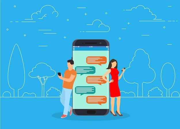 Glückliche menschen benutzen mobiles smartphone