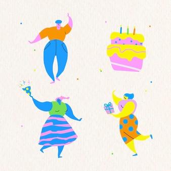 Glückliche menschen, die eine geburtstagsfeier feiern, kritzelt gesetzten vektor