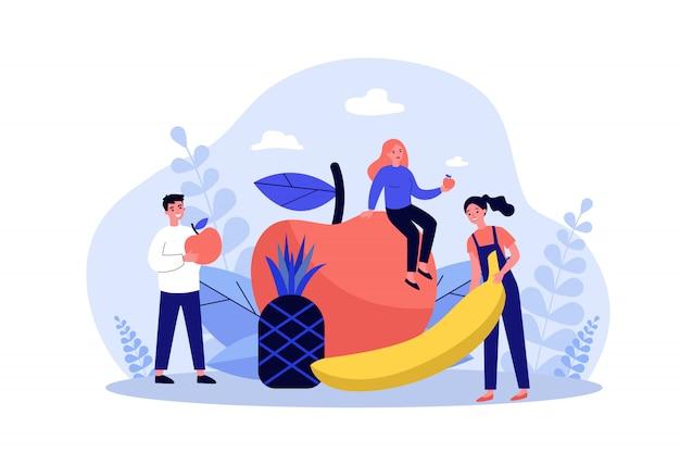 Glückliche menschen, die gesunde ernährung halten