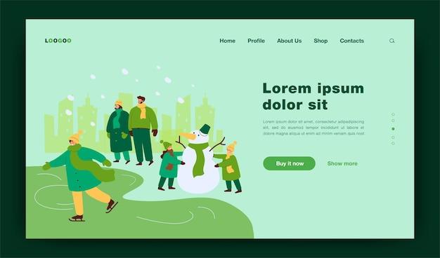 Glückliche menschen, die im winterpark spazieren gehen und spaß haben, isolierte flache illustration
