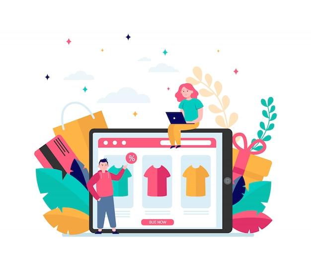 Glückliche menschen, die kleidung online kaufen