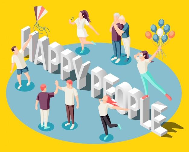 Glückliche menschen, die mit den ballonen verbringen zeit zusammen tanzen, das isometrische helle gelb des lebens genießend
