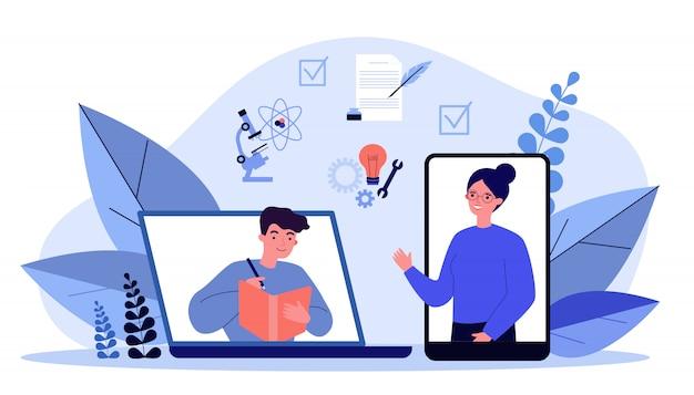 Glückliche menschen, die online über smartphone oder laptop lernen