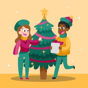Glückliche menschen, die weihnachtsbaum verzieren