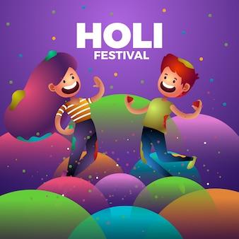 Glückliche menschen, die zusammen zeit am holi festival verbringen