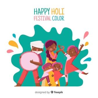 Glückliche menschen feiern holi festival