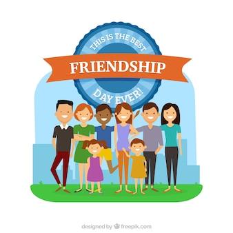 Glückliche menschen freundschaft tag feiern