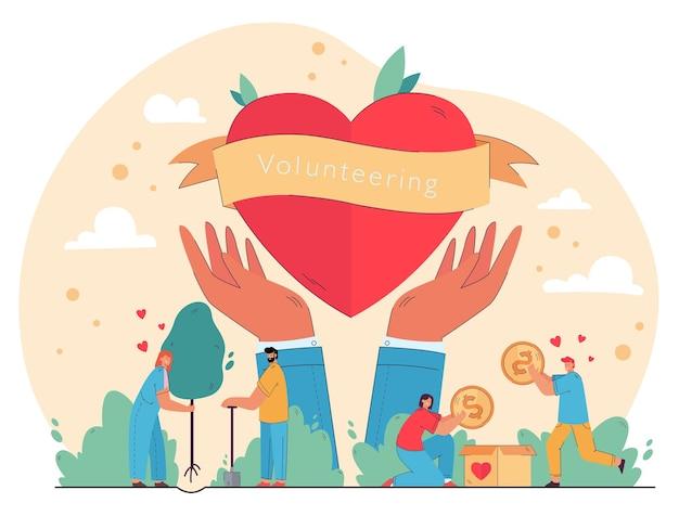 Glückliche menschen genießen freiwilligenarbeit und geben hilfe, packen geld in spendenbox, pflanzen bäume im herzen in händen symbol. illustration für wohltätigkeit, naturpflege, humanitäre hilfe konzept