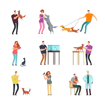 Glückliche menschen haustierbesitzer. mann, frauen und familie, die mit den haustiervektorzeichentrickfilm-figuren lokalisiert ausbilden und spielen
