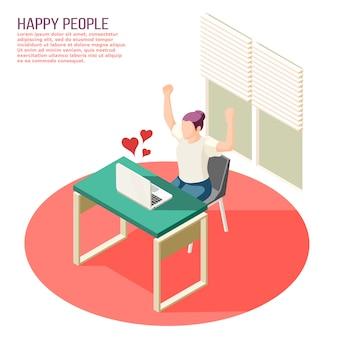 Glückliche menschen in der liebesdatierung plaudern mit den herzsymbolen, die von der isometrischen zusammensetzung des laptopschirmes ansteigen