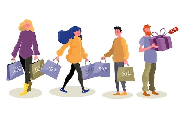 Glückliche menschen mit produkten in ihren taschen