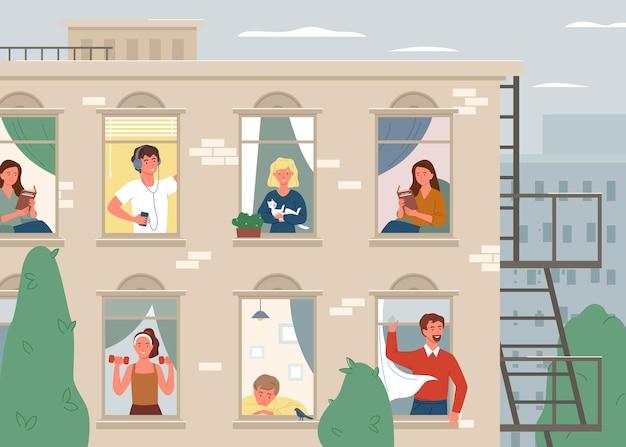 Glückliche menschen nachbarn. karikatur backsteinhaus gebäude fassade, fenster mit positiven mann frau nachbar charaktere in wohnwohnungen, nachbarschaft leben