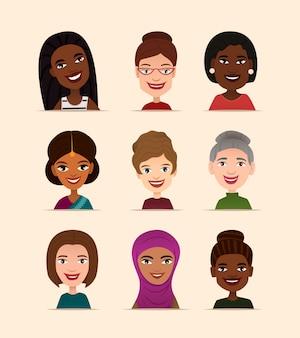 Glückliche menschen runde avatar festgelegt