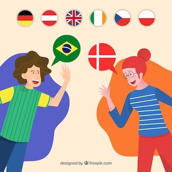 Glückliche menschen sprechen verschiedene sprachen