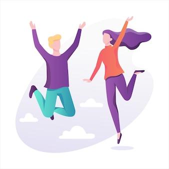 Glückliche menschen springen in die luft. idee von glück und feier. illustration mit stil