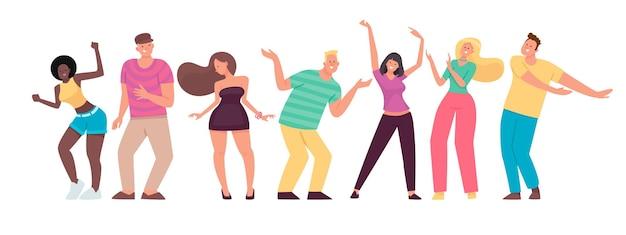 Glückliche menschen tanzen. männer und frauen bewegen sich zur musik. satz fröhliche energetische charaktere. im flachen stil.