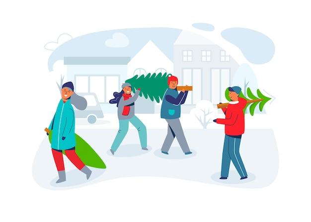 Glückliche menschen tragen weihnachtsbäume. charaktere an neujahr und frohe weihnachten. vorbereitung auf die winterferien. grußkarte.