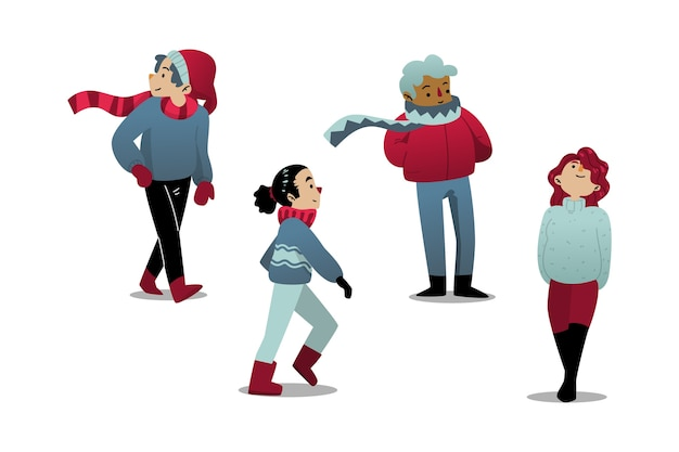 Glückliche menschen tragen winterkleidung