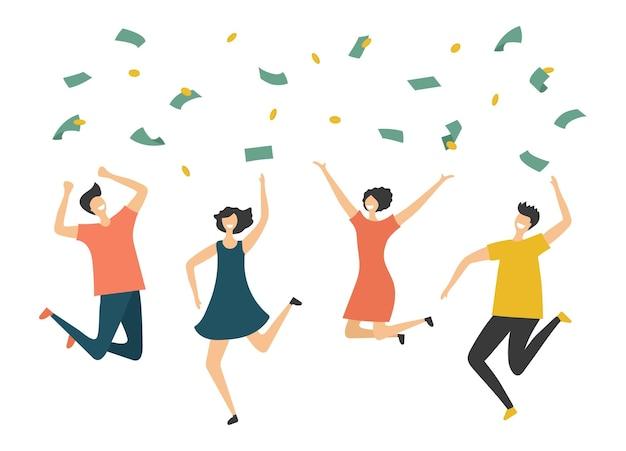 Glückliche menschen unter geldregen. springende mannfrau, gewinn oder lotteriegewinnvektorillustration. finanzieren sie erfolg, reiche und glückliche regengewinne