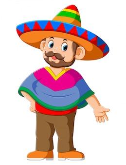 Glückliche mexikanische zeichentrickfilm-figur