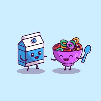 Glückliche milch und müsli cartoon icon illustration. lebensmittel- und getränkesymbol-konzept isoliert. flacher cartoon-stil