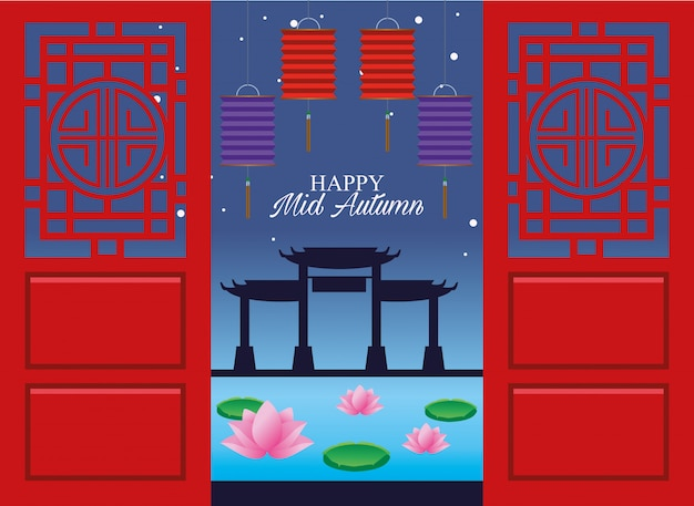 Glückliche mittherbstfestkarte mit hängenden laternen und chinesischen bögen