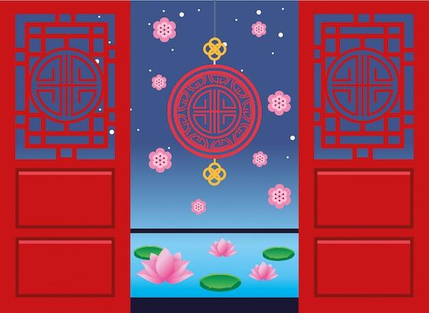 Glückliche mittherbstfestkarte mit siegel, das in türen hängt