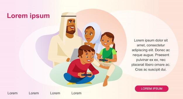 Glückliche moslemische familien-webseiten-vektor-schablone