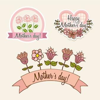 Glückliche mütter etiketten mit blumen und herzen vektor-illustration