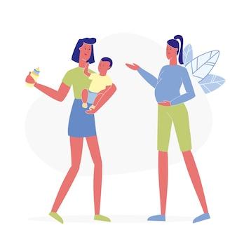 Glückliche mütter gespräch wohnung
