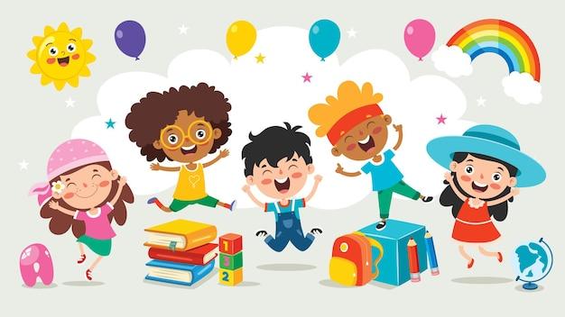 Glückliche multiethnische kinder, die zusammen spielen Premium Vektoren