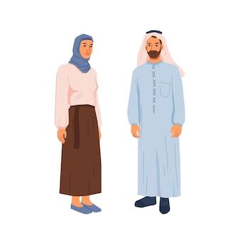 Glückliche muslimische familie, bärtiger mann und frau im nationalen tuch isolierte karikatur
