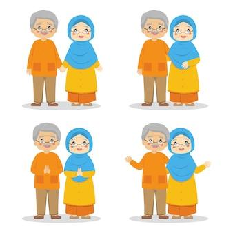 Glückliche muslimische großeltern im bunten kleidungssatz