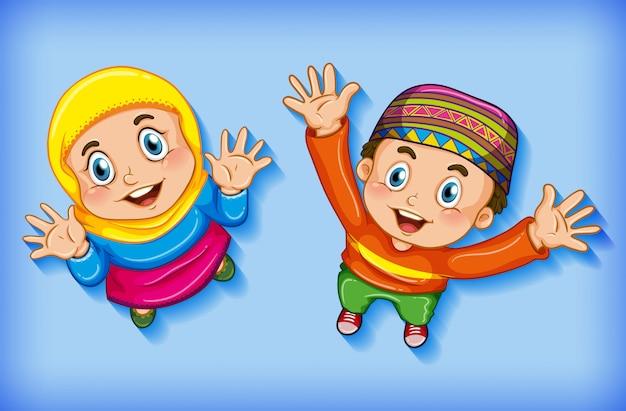 Glückliche muslimische kinder aus der luft