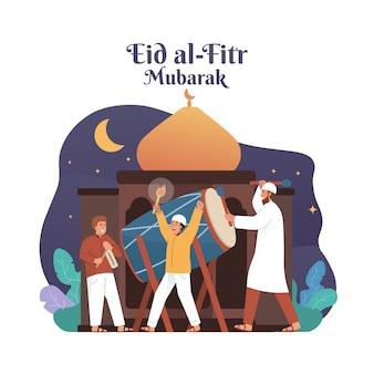 Glückliche muslimische leute schlagen trommel und feiern eid mubarak