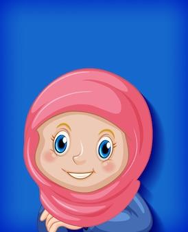 Glückliche muslimische mädchenkarikaturfigur