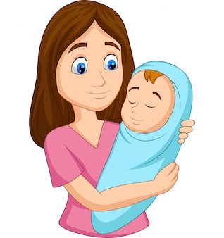 Glückliche mutter, die das neugeborene baby eingewickelt im blau trägt