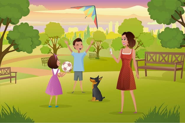 Glückliche mutter, die mit kindern im stadt-park-vektor spielt