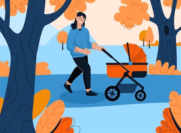 Glückliche mutter, die mit neugeborenem baby im kinderwagen geht