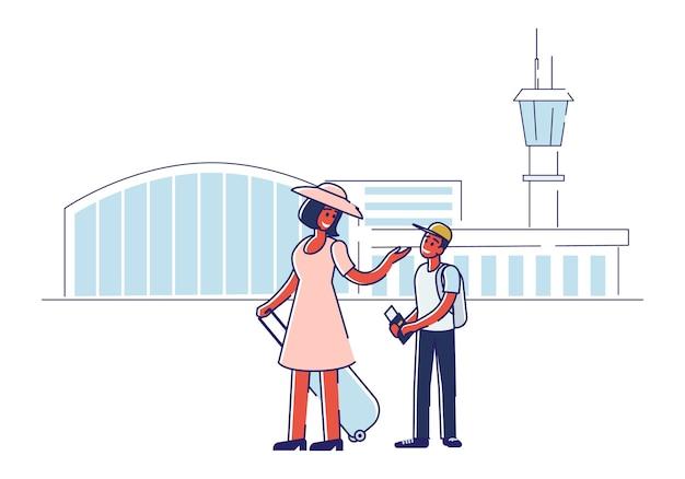 Glückliche mutter und sohn vor dem einsteigen in das flugzeug mit pässen, tickets und gepäck über dem flughafen