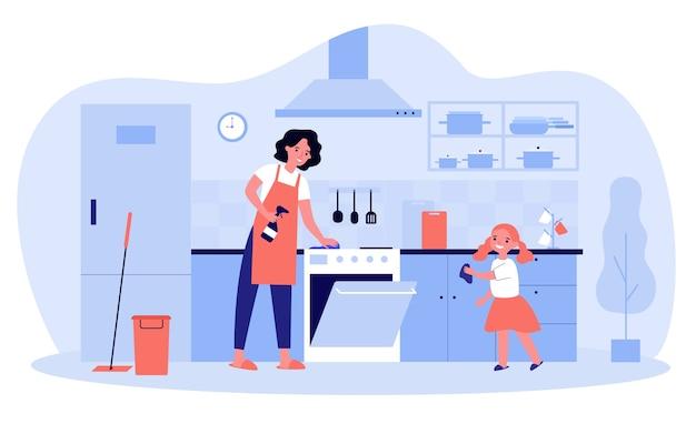 Glückliche mutter und tochter, die küche zusammen illustration reinigen. zeichentrickfiguren, die staub von möbeln abwischen, mädchen, das frau hilft. hausarbeit und hauskonzept