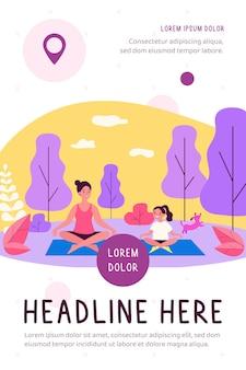 Glückliche mutter und tochter, die yoga in der flachen parkillustration praktizieren