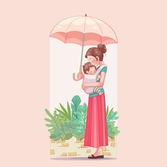 Glückliche muttertagsgrußkarte. junge mutter mit ihrem kind.
